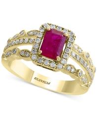 Amore by Effy Certified Ruby (1 ct. t.w.) and Diamond (1/2 ct. t.w.) Ring in 14k Gold, Created for Macy's -  Effy Collection