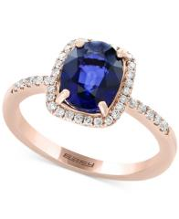 Final Call by Effy Diffused Ceylon Sapphire (1-9/10 ct. t.w.) and Diamond (1/5 ct. t.w.) Ring in 14k Rose Gold -  Effy Collection