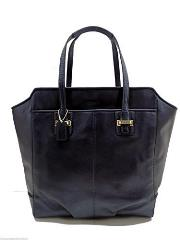 Coach Taylor North/South Tote Shoulder Leather Midnight Blue Handbag