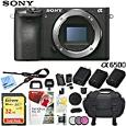 Sony Alpha a6500 Mirrorless Digital Camera 24.2MP (Black) Body Only ILCE-6500/B with Extra Battery Case 32GB Memory Card Deluxe Pro Bundle