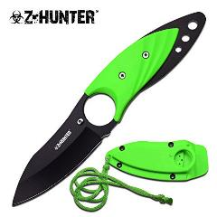 Neck Knife and Sheath. For Tactical Warrior, Men, Women! Best Small Fixed Blade with Paracord. Use for Survival, Keep Hidden, Finger Hole. Thin Green Full Tang Necklace or Boot. Z-hunter. New. -  Master