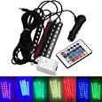 Shensee 4 PC LED Car Interior RGB Lights With Remote Controller Auto Night Multi-Color Light Kit Strips Atmosphere Decoration