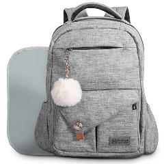 Baby Diaper Bag Backpack for Mom and Dad W/ Changing Pad & Cute Pompon Keychain: Fit Everything Inside! Grey Unisex Organizer, Large Waterproof Pack, Fits on Back, Stroller or as a Handheld Nappy Tote -  Freilach