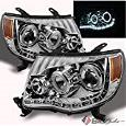 For 2005-2011 Tacoma Chrome Halo Projector Headlights w/Daytime Running LED Strip Pair L+R/2006 2007 2008 2009 2010 -  Xtune