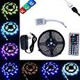 Kapata 5-Meter Waterproof LED Flexible Color Changing RGB SMD3528 300 LEDs Light Strip Kit with 44 Key Remote and 12V 3A Power Supply
