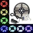 YHG 5m/16.4 Ft SMD 3528 RGB 300 LED Color Changing Kit with Flexible Strip Light+24 K Ir Remote Control+ Power Supply