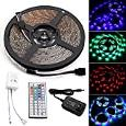 Waterproof Led Strip, Leadpo 16.4ft 5M SMD 3528 RGB IP65 Waterproof Flexible Strip 300 Leds Color Changing RGB Light Strip Kit 5M White PCB DC12V + 44Key Remote + 12V 2A US Charger Power Adapter