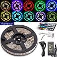 AliceTop 5 Meter 500MM Waterproof Flexible Color Changing RGB SMD5050 300 LEDs Light LED Strip Kit with 44 Key IR Remote+12V 5A US Power Supply For Homes Gardens Office Bars Diy-Party