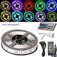 AliceTop 5 Meter Not Waterproof Non-Waterproof Flexible Color Changing RGB SMD5050 300 LEDs Light LED Strip Kit with 44 Key IR Remote+12V 5A US Power Supply For Homes Gardens Office Bars Diy-Party