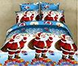 Best to Buy 4PCS 3D Queen Printed Cartoon Merry Christmas Santa Claus Comfort Bedding Sets, Bed Sheet + Quilt Cover + Pillow case (Blue) -  Best to Buy®